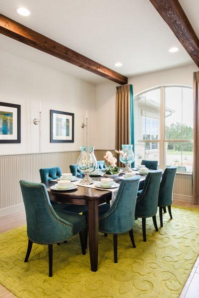 Professional dining room decor for Rio Ancho model home in Liberty Hill, Texas