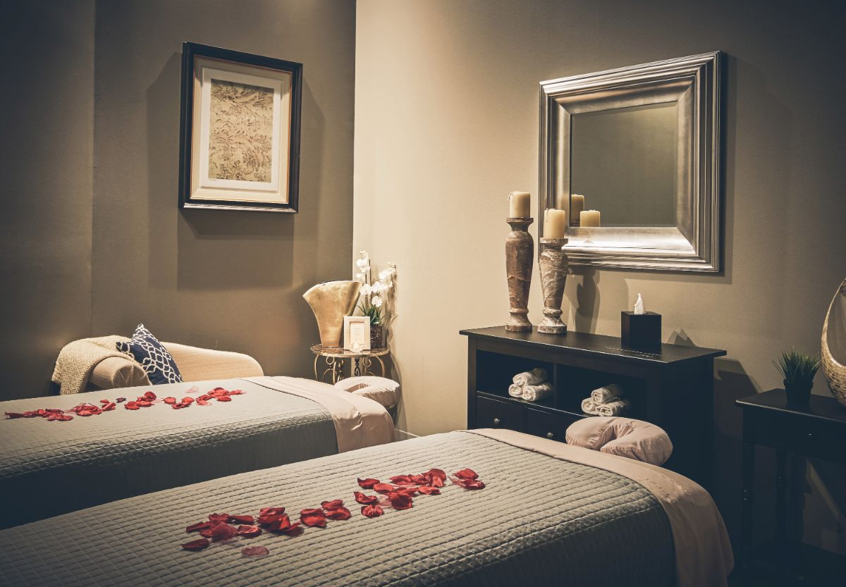 Couples massage room interior design by Michelle Thomas Design in Austin, TX