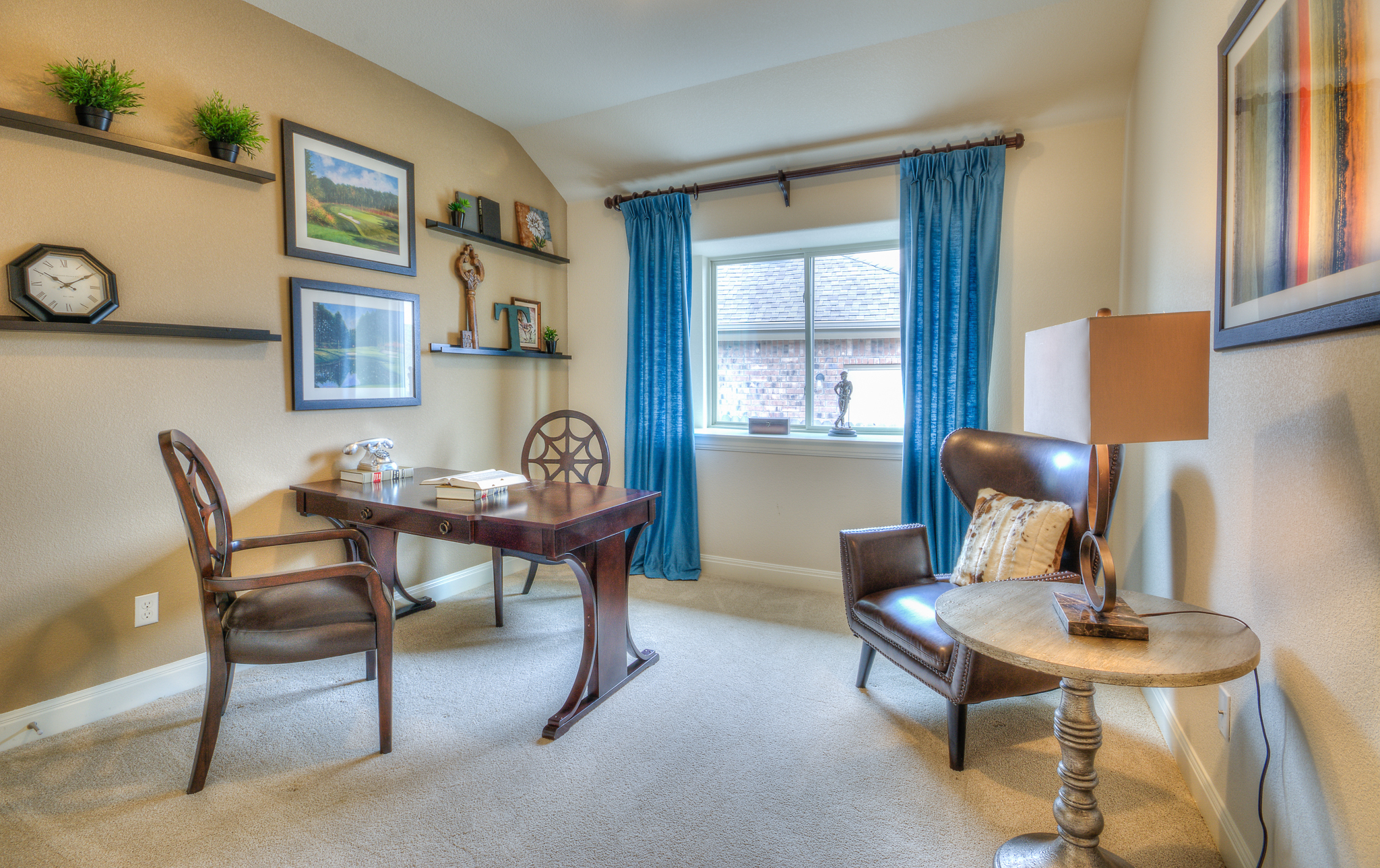 Home office interior design for model home by Michelle Thomas in TX