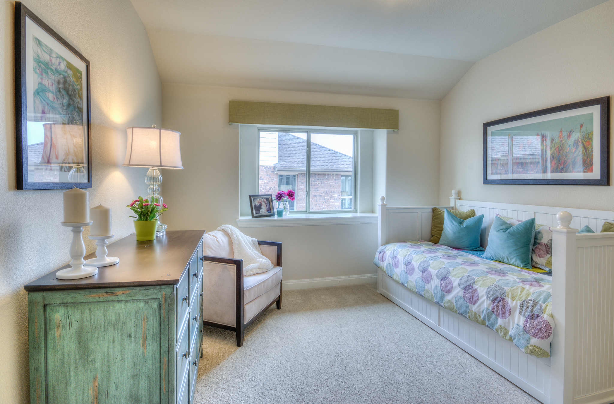 Model home bedroom interior design in Austin, TX by Michelle Thomas