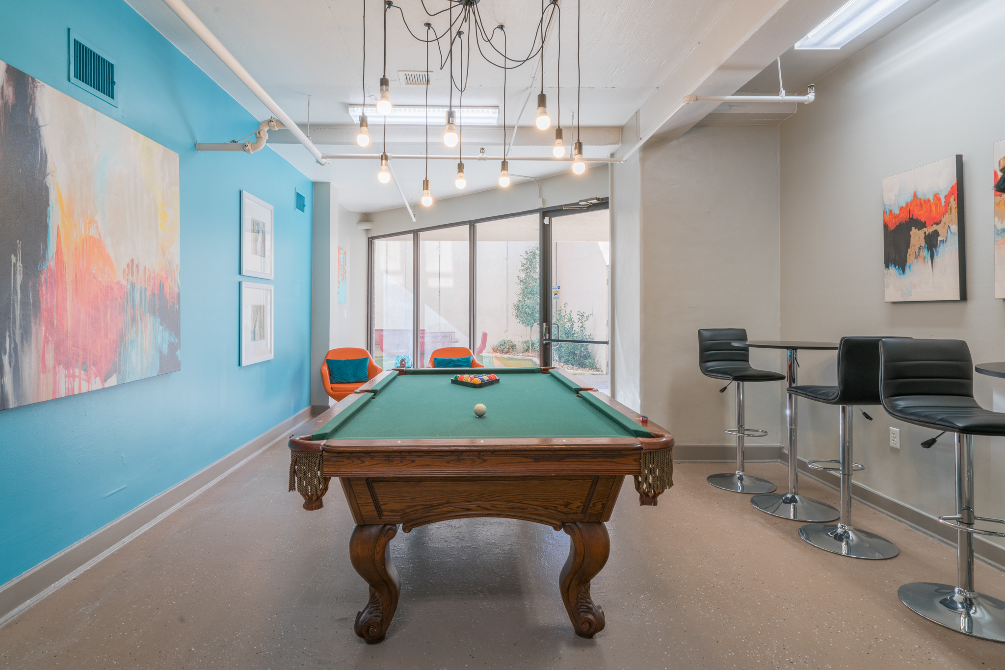 Professional game room design for The Enclave in San Antonio, TX