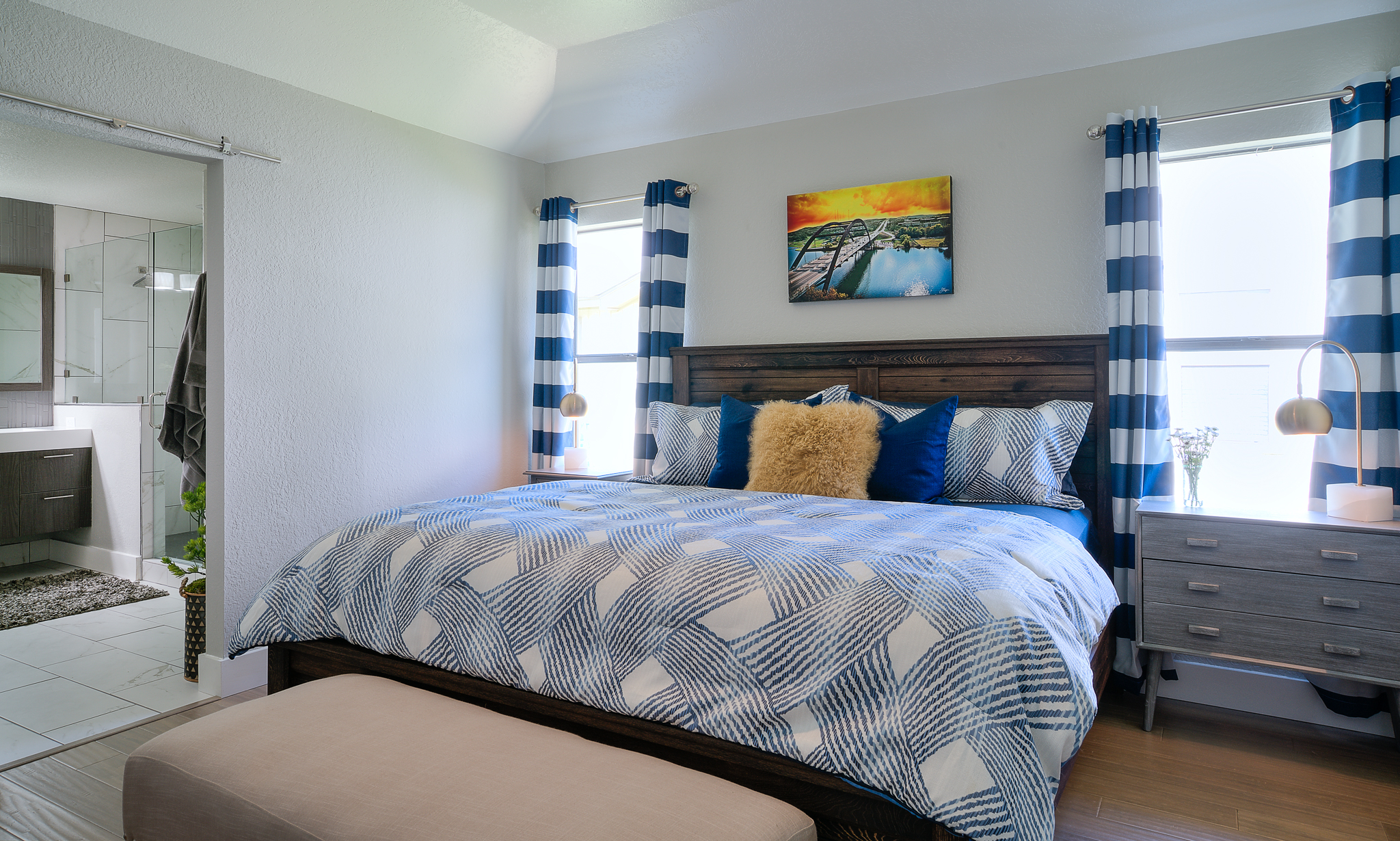 Blue bedroom interior design by Michelle Thomas in Austin, Texas