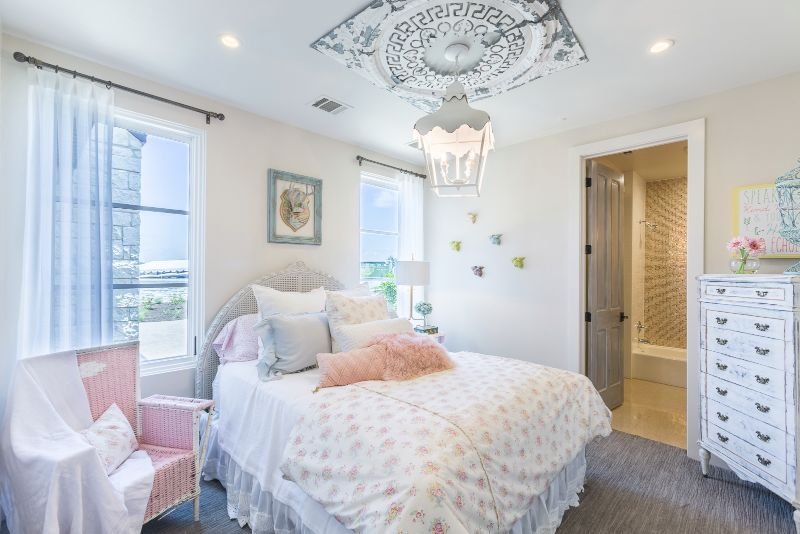 White interior design for girl's bedroom at Austin Parade of Homes 2017
