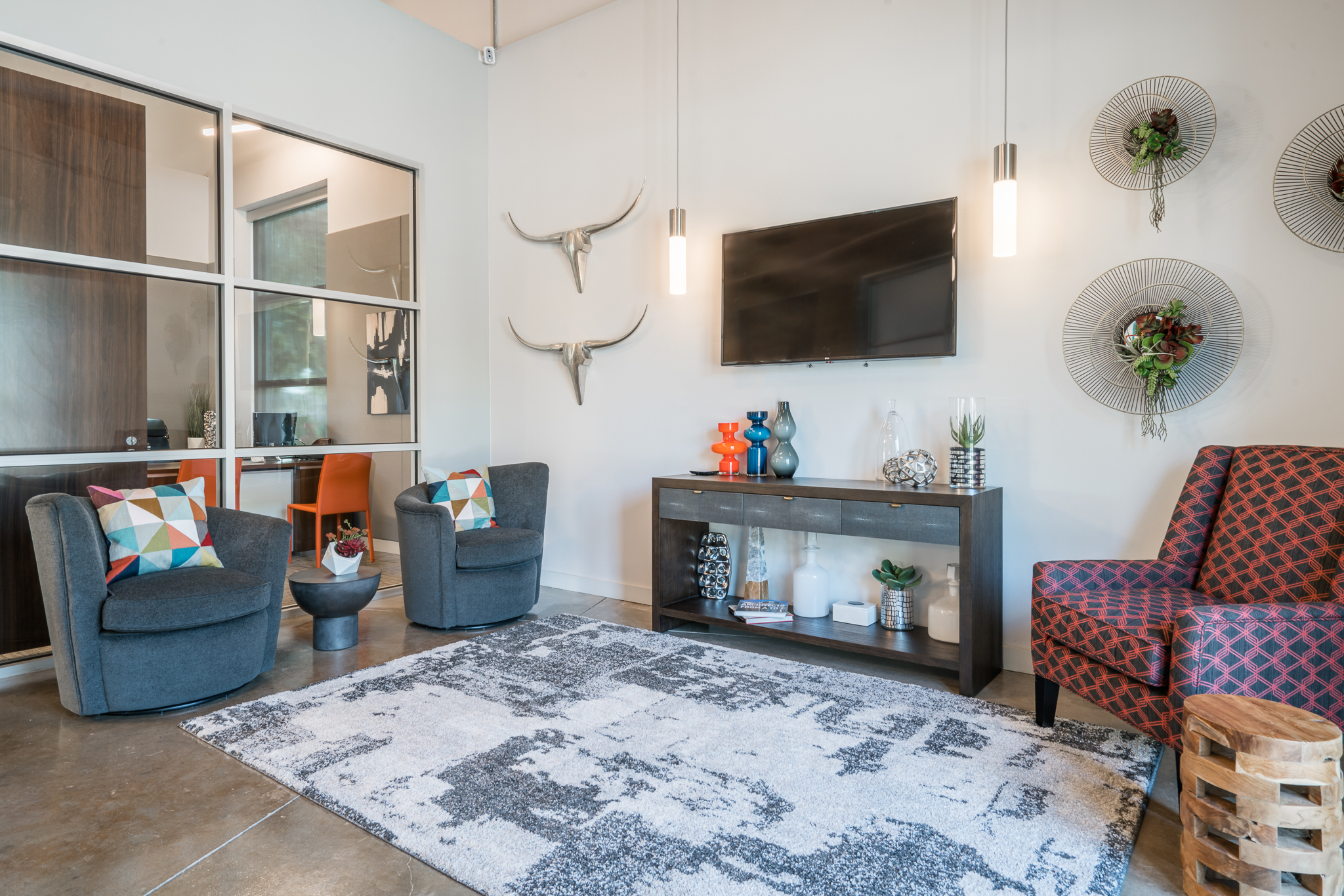 Seating area in Austin, TX apartment complex leasing center