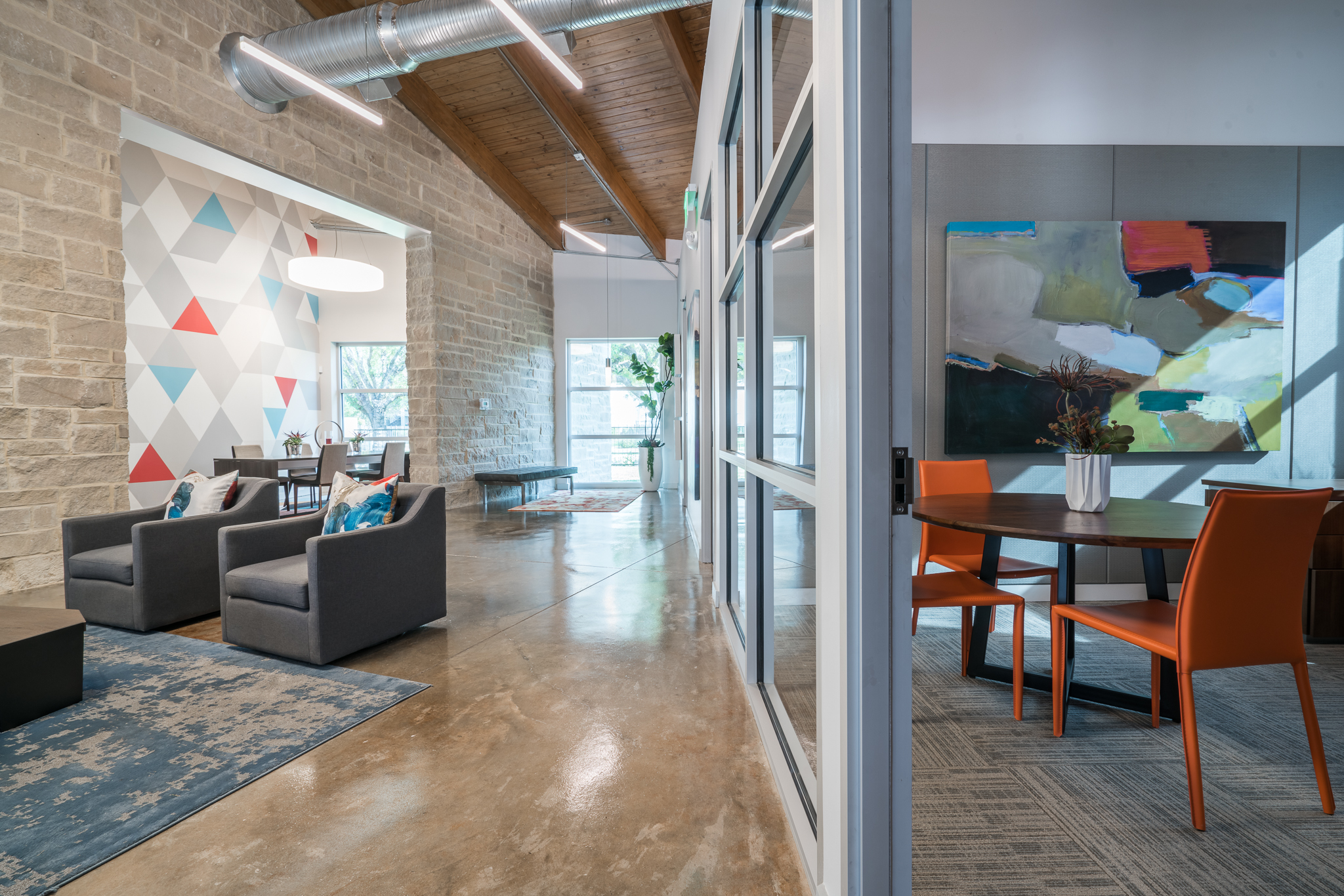 Bright and colorful leasing center interior design in Austin, Texas