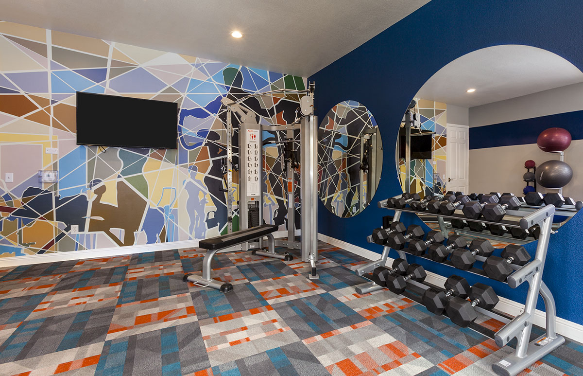 Colorful gym with pops of blue by interior designer, Michelle Thomas, in Texas