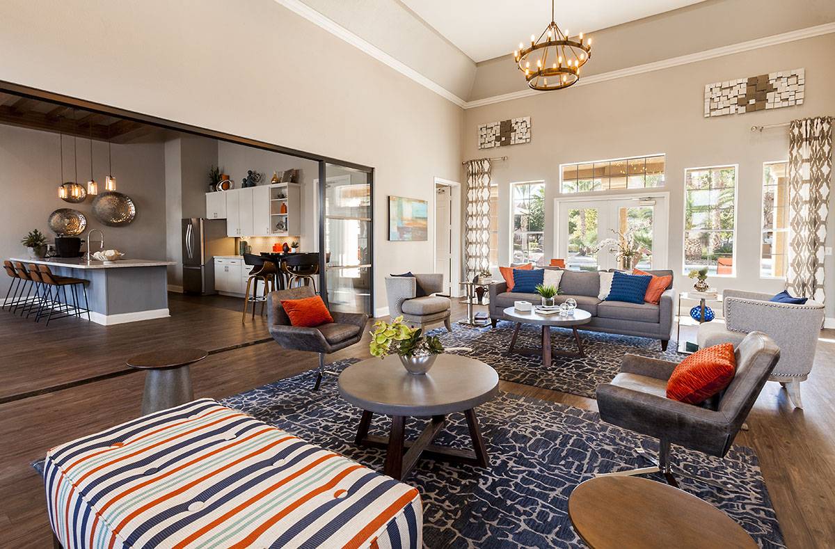Beautiful Austin, TX living room professionally decorated with bright pops of color