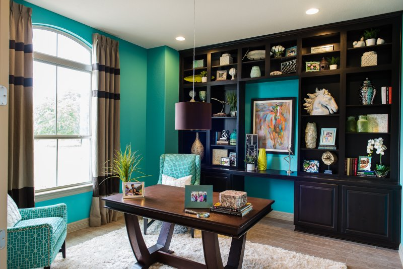 Blue home office interior design at Rio Ancho in Liberty Hill, TX