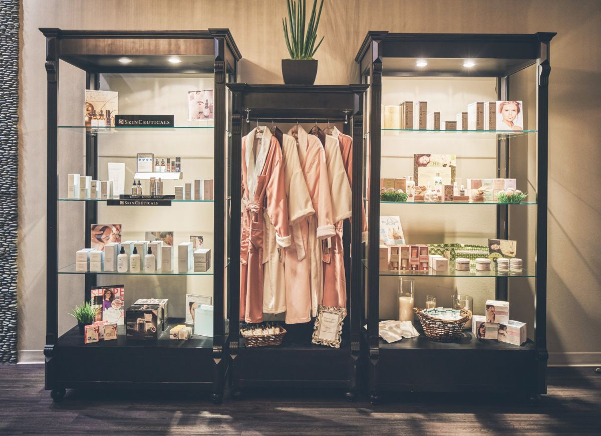 Professionally designed spa boutique for Massage Sway in Austin, Texas