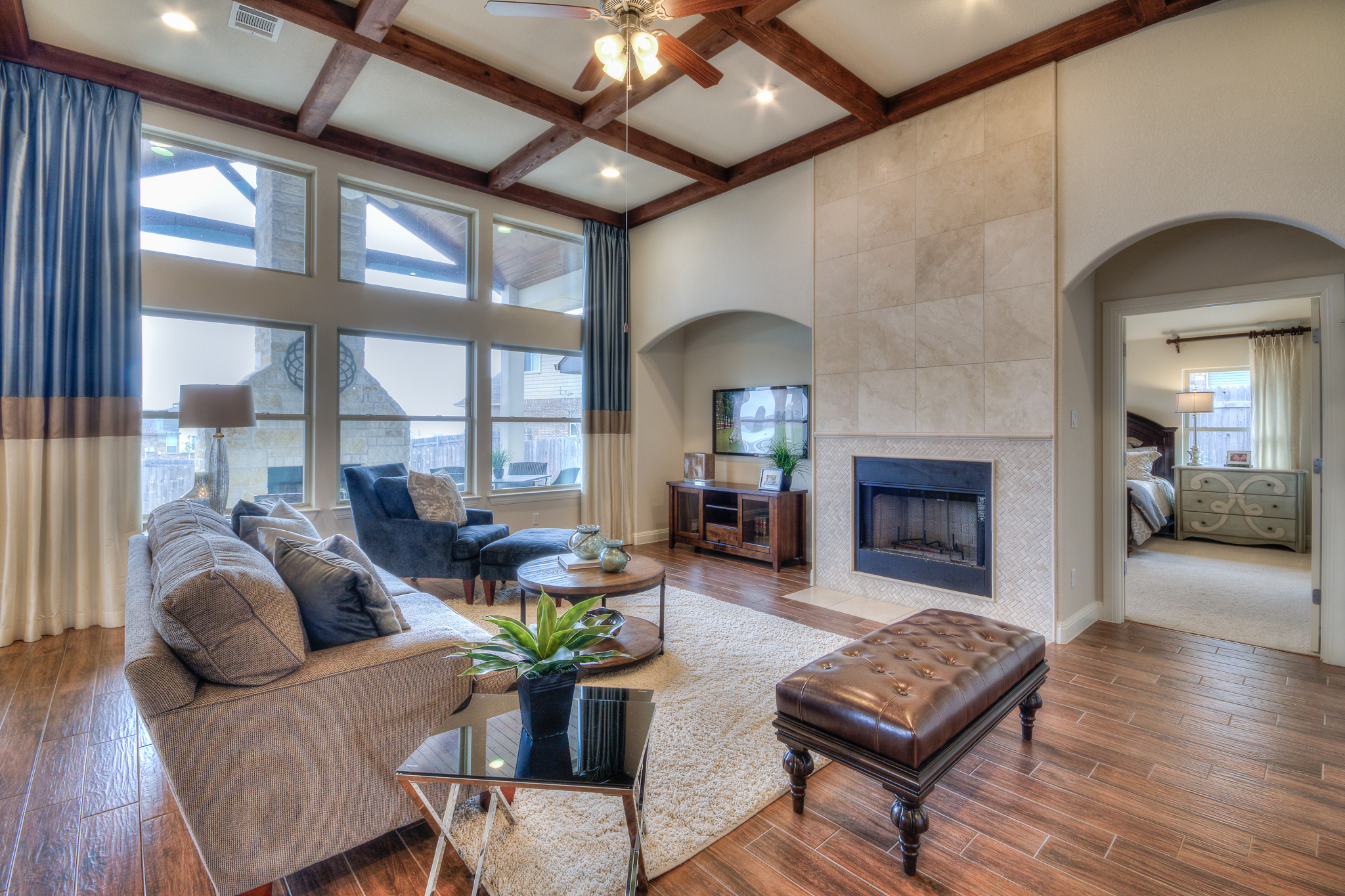 Neutral living room interior design for model home by Michelle Thomas Design