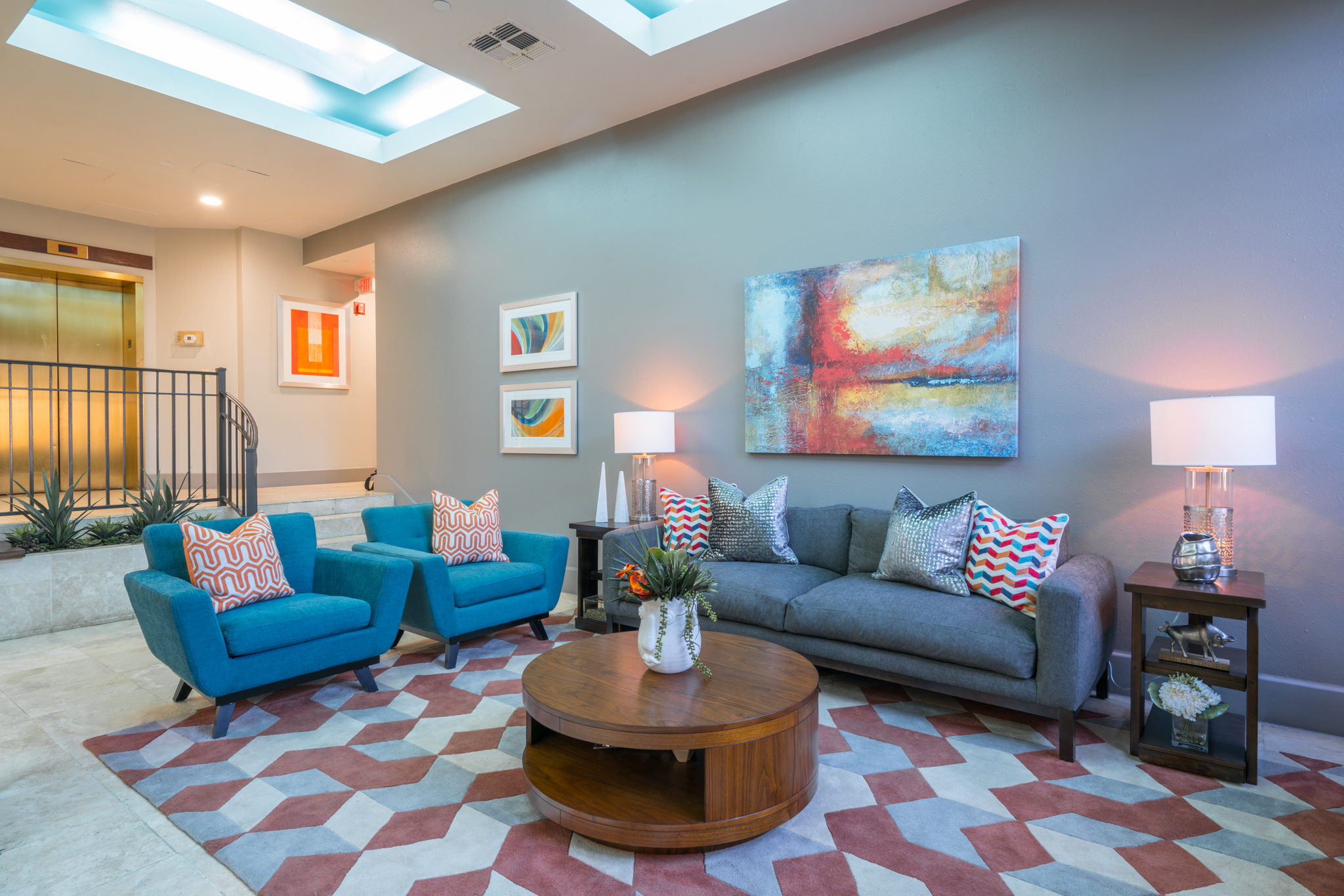 Bright interior design for The Enclave apartment lobby in San Antonio
