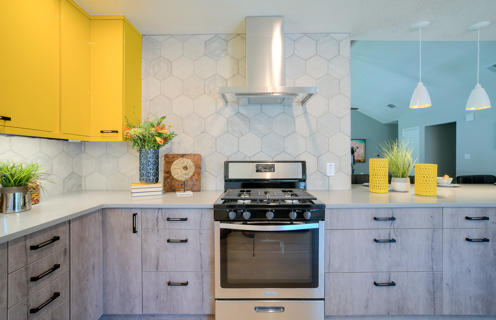 Colorful kitchen interior design for HGTV House Hunters Renovation in Austin, TX