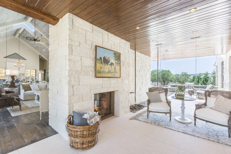 Jenkins interior living room design with fireplace for Austin Parade of Homes 2017