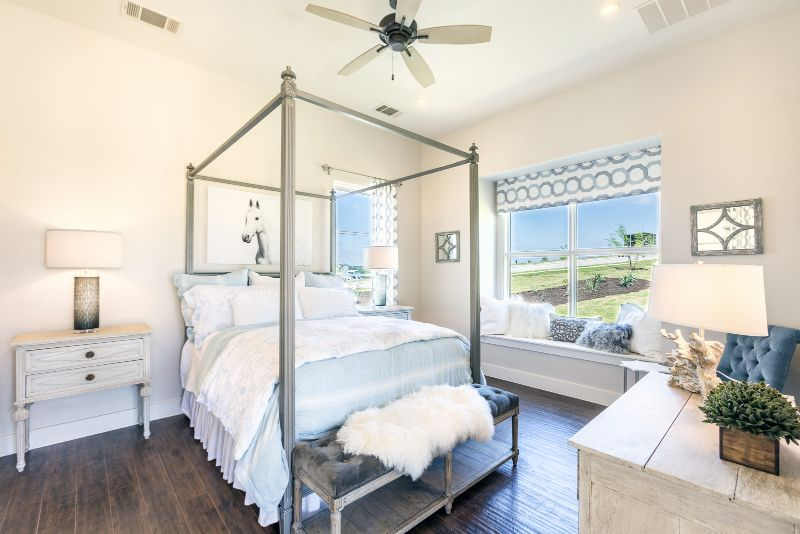 Bedroom at the Austin Parade of Homes 2017 by interior design firm Michelle Thomas Design