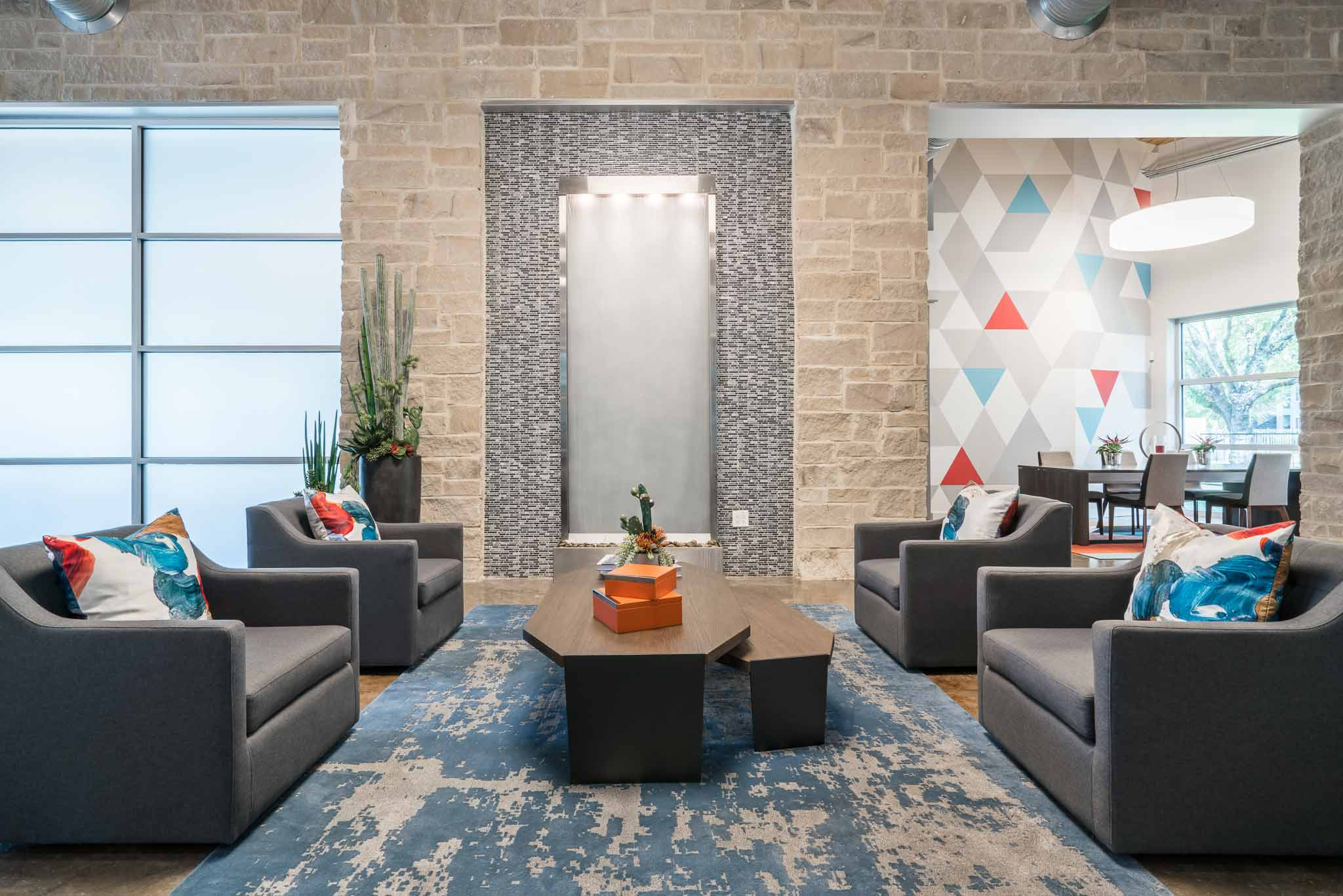 Seating area interior design for busy Austin, TX apartment complex